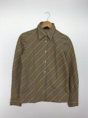 7分袖シャツ/40/コットン/BEG/ストライプ