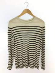 長袖Tシャツ/XXS/リネン/BLK/ボーダー/Striped Linen T-shirt/ロゴ