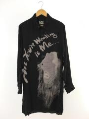 BSプリントシャツ/HC-B78-222/2/レーヨン/BLK/ロングシャツ