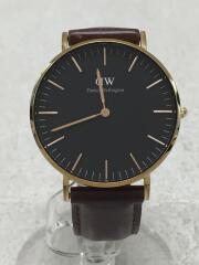 クォーツ腕時計/アナログ/レザー/BLK/BRW/クラシックブラックブリストル