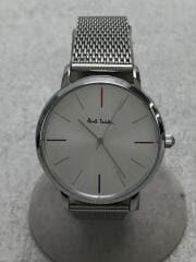 クォーツ腕時計/アナログ/箱有/WHT/SLV/