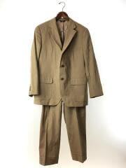 スーツ/42/コットン/BEG/段返り/開き見せ/センターベント/パッチアンドフラップポケット