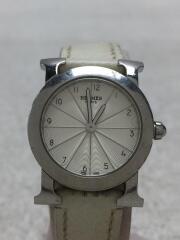 クォーツ腕時計/アナログ/レザー/WHT/WHT/HR1.210/Hウォッチ