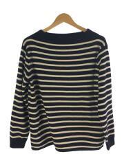 セーター(厚手)/M/ウール/NVY/ボーダー/ボートマン