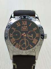 SAAD サード/クォーツ腕時計/アナログ/レザー/BLK/BRW/MJS42-0411