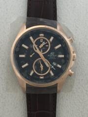 CASIO/カシオ/クォーツ腕時計・EDIFICE/アナログ/レザー/ブラック/ブラウン/チャイロ/クロ