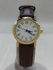 クォーツ腕時計/アナログ/レザー/WHT/BRW/W005