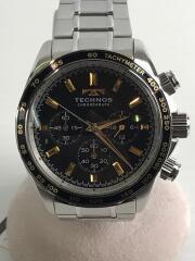 TECHNOS/クォーツ腕時計/アナログ/ステンレス/BLACK/T4462