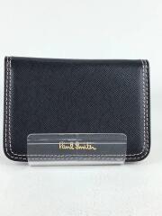 カードケース/レザー/BLK/無地