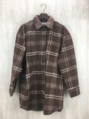 シャツジャケット/FREE/ポリエステル/ブラウン/チェック/111950406201-01