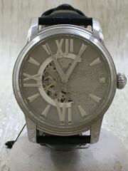 自動巻腕時計/アナログ/レザー/ブラック/OR-0011N