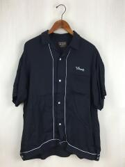 半袖シャツ/L/レーヨン/ネイビー/無地/M-18228/ビッグシルエットレーヨンボーリングシャツ