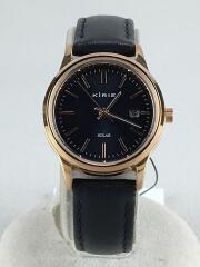 KIRIE/クォーツ腕時計/アナログ/レザー/ブラック/V137-KNW0