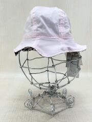 キッズ服飾/帽子/コットン/PNK/リバーシブル/BLK/ドット/タグ付/44cm