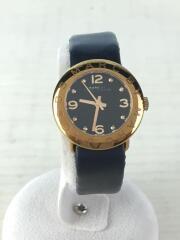 クォーツ腕時計/アナログ/レザー/ブラック/黒/電池式/黒金/小物/アクセサリー/