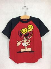 Tシャツ/120cm/コットン/RED/POPN BEAT/ラグラン切替