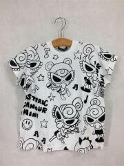 Tシャツ/110cm/コットン/WHT/総柄/SELFISH GIRL/BIG/モノトーン