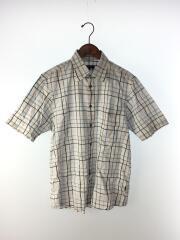 半袖シャツ/3/コットン/ホワイト/白/ポケット付/ロゴ刺繍/チェック/インポート