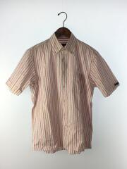 半袖シャツ/3/コットン/ピンク/レッド/赤/ストライプ/ロゴ刺繍/ボタンダウン/インポート
