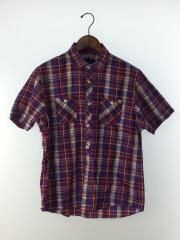 半袖シャツ/4/パープル/紫/チェック/ポケット付/ロゴ刺繍/コットン/インポート