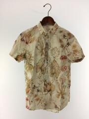 半袖シャツ/アロハシャツ/オープンカラー/M/コットン/白/総柄/PM-WR-74326