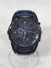 クォーツ腕時計/アナログ/レザー/ブルー/青//VK67-K090/アクセサリー
