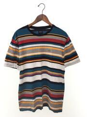 Tシャツ/L/コットン/マルチカラー/ボーダー/ブランドロゴ/半袖カットソー/ストリート
