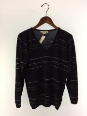 セーター/薄手ニット/ボーダーニット/S/ウール/毛/ブラック/黒/イングランド製/メンズ
