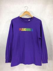 長袖Tシャツ/M/コットン/パープル/紫/ビビッドカラー/レインボー/ロゴ