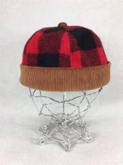 ニットキャップ/ニット帽/帽子/ヘッドウェア/ウール/レッド/赤/チェック/切替/コーデュロイ