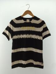 Tシャツ/半袖カットソー/タイダイボーダー/S/コットン/ブラック/黒/白/レディース