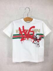 Tシャツ/120cm/コットン/WHT/プリント/MINIちゃん/ロゴ/ペイント