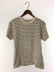 Tシャツ/M/コットン/白/ボーダー/3204
