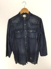 DENIM STAND COLLAR CUT OFF WESTERN SHIRT/1/インディゴ/UE-180033