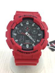 クォーツ腕時計・G-SHOCK/デジアナ/RED/赤/GA-100B-4AJF