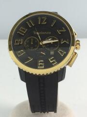 クォーツ腕時計/アナログ/ラバー/BLK/黒/ゴールド/金色/ty460011