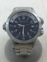 クォーツ腕時計/アナログ/ステンレス/ネイビー/紺/h745410
