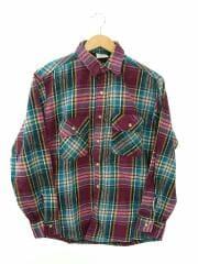 ネルシャツ/M/コットン/紫/パープル/フランネルシャツ/チェック/長袖シャツ