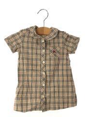 半袖シャツ/80cm/コットン/ブラウン/チェック