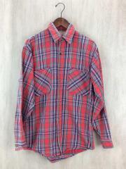 ネルシャツ/--/コットン/RED/チェック/15-15.5/MADE IN USA/80s/80年代