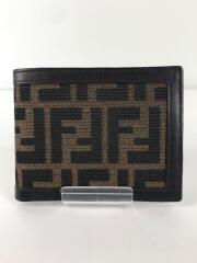 2つ折り財布/キャンバス/レザー/BRW/無地/メンズ/ズッカ柄