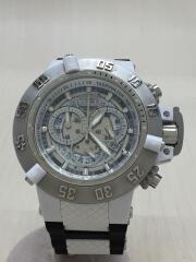 クォーツ腕時計/クロノグラフ/ラバー/シルバー/ブラック
