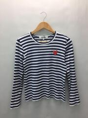 プレイコムデギャルソン/長袖Tシャツ/NVY/ボーダー/AZT009/ハート/ワッペン/AD2011