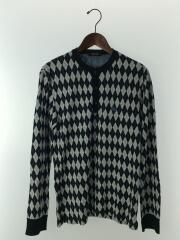 セーター/ハーフボタン/アーガイル/2/コットン/NVY/ニット/ワンポイント/刺繍