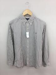 18SS/ボタンダウンシャツ/長袖シャツ/L/コットン/GRY/ストライプ