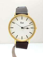 riki/クォーツ腕時計/アナログ/レザー/WHT/BRW/vj21-ke20