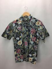 アロハシャツ/S/コットン/BLK/花柄/rn38018
