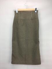 19年/ウエストシャーリングタイトスカート/ロングスカート/0/ブラウン/チェック/茶/09WFS194055