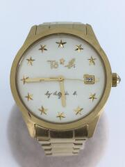 クォーツ腕時計/アナログ/ステンレス/ホワイト/白/ゴールド/文字盤星/箱有