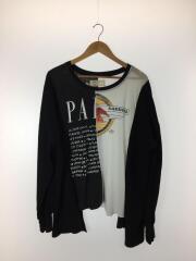 長袖Tシャツ/--/コットン/ブラック/黒/再構築/リメイク